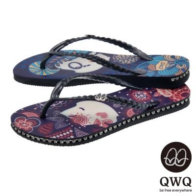 QWQ夾拖的創意(女) -左右大不同melody兩小無猜側鑽夾腳拖- 藍紫