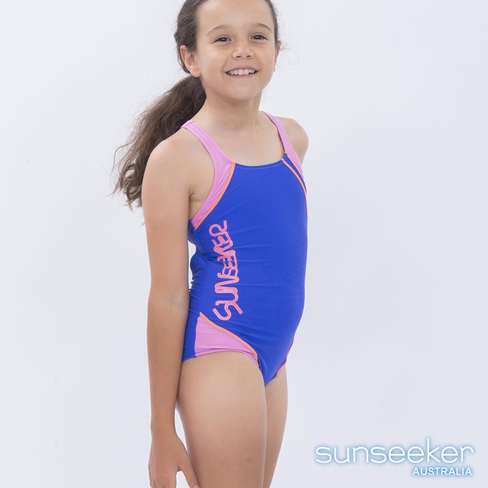 澳洲Sunseeker泳裝抗UV防曬運動連身泳衣-大女童藍紫色
