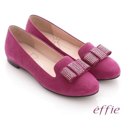 effie 濃情藝文 絨面蝴蝶貼鑽樂福平底鞋 桃紅