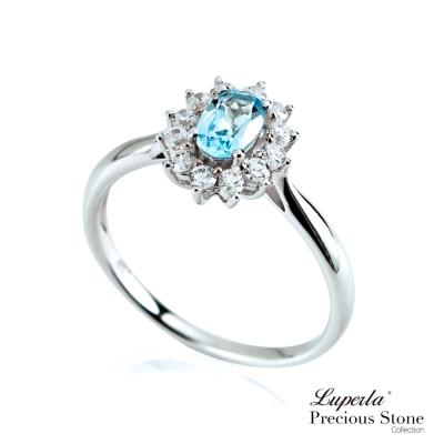 大東山珠寶 星座愛情 藍托帕石璀璨純銀戒指 燦爛極光