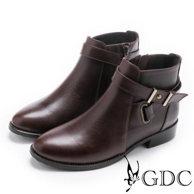 GDC-交叉小巴黎知性基本真皮短靴-咖啡色