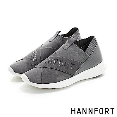 HANNFORT ICE飛線針織時尚運動氣墊鞋-女-絲柔灰-動態show