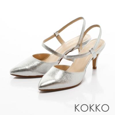 KOKKO-微性感尖頭S繞帶真皮高跟鞋- 金屬銀