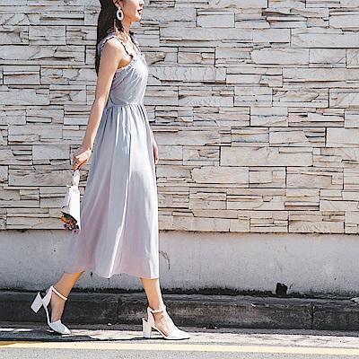 婚禮系列~肩帶荷葉滾邊扭結設計純色長洋裝-OB嚴選