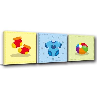 美學365-三聯客製化掛飾壁鐘時鐘畫框無框畫藝術掛畫-親子-30x30cm