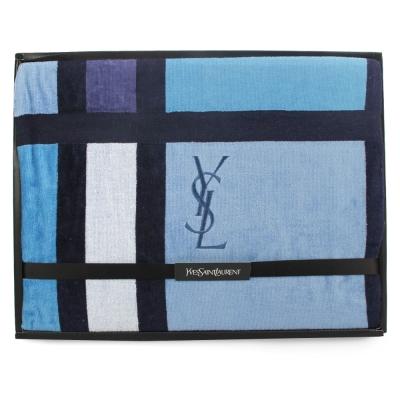 YSL 刺繡LOGO拼色雙面純綿毛巾蓋毯-水藍色