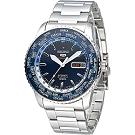 SEIKO 環遊5號盾牌23石機械腕錶(SRP125J1)-藍/44mm