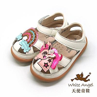 天使童鞋 粉紅彩虹小馬護趾涼鞋(小-中童)i863-白
