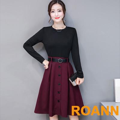假兩件圓領撞色拼接長袖洋裝附腰帶 (共三色)-ROANN