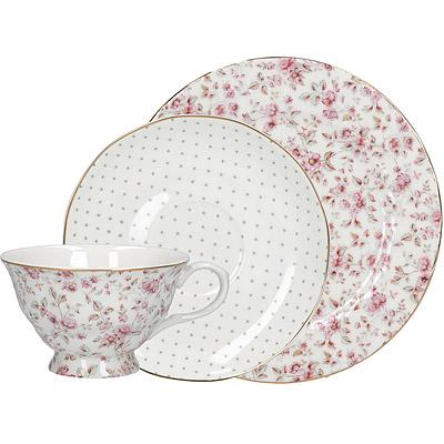 《CreativeTops》Katie金邊骨瓷餐盤+杯碟組(碎花白200ml)