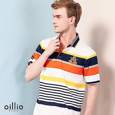 歐洲貴族oillio 短袖POLO 寬細條紋 左胸電繡 白色