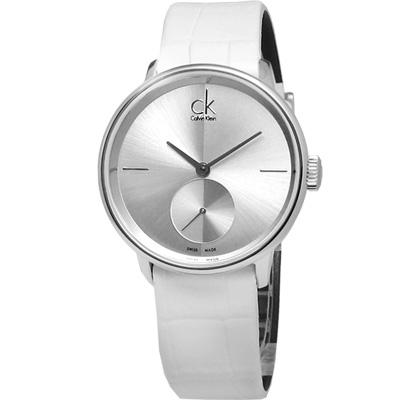 CK EVEN Uhren Accent獨立秒針純白皮革仕女手錶-銀32mm