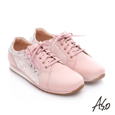 A.S.O 輕量抗震 金箔牛皮拼接奈米綁帶休閒鞋  粉紅