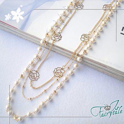 iSFairytale伊飾童話 亮片玫瑰 珍珠多墬毛衣長鍊