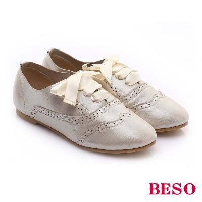BESO 甜心女孩 羊皮緞帶蝴蝶結平底鞋 金