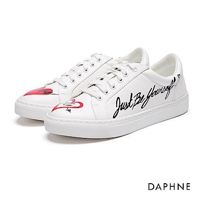 達芙妮DAPHNE 休閒鞋-塗鴉綁帶平底休閒鞋-白
