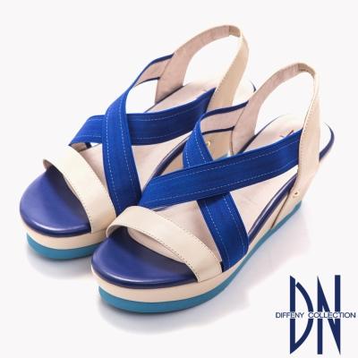 DN 夏日  真皮撞色鬆緊帶楔型涼鞋~藍
