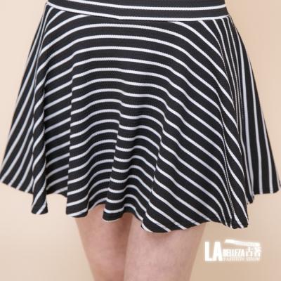 古著 黑白斜紋波浪短褲裙