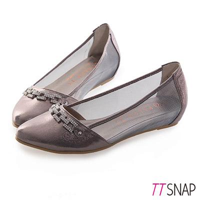 TTSNAP內增高-MIT方釦排鑽尖頭透膚網紗平底鞋 錫