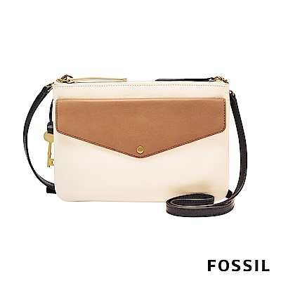 FOSSIL  DEVON 真皮多夾層口袋包-米白(正反兩面雙色)