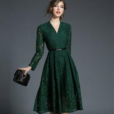 ABELLA 艾貝拉 墨綠花朵蕾絲V領長袖皮帶收腰洋裝(S-2XL)