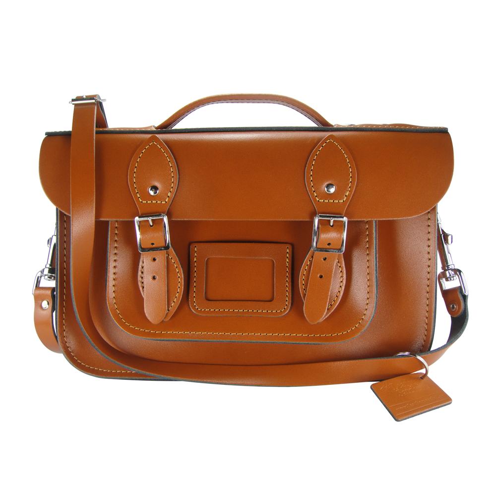 The Leather Satchel 英國手工牛皮劍橋包 肩背手提包 倫敦棕 12.5吋