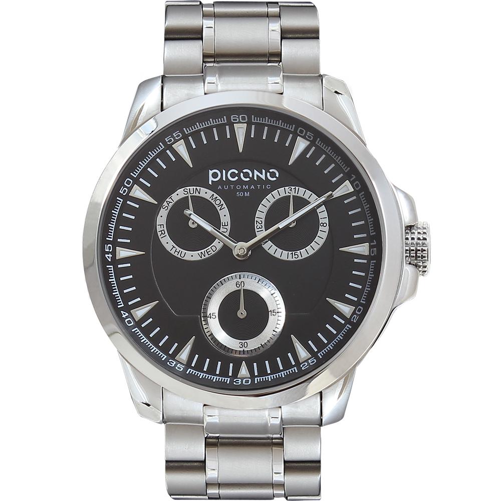 PICONO Eunice系列‧時尚簡約全日曆腕錶-黑銀/48mm