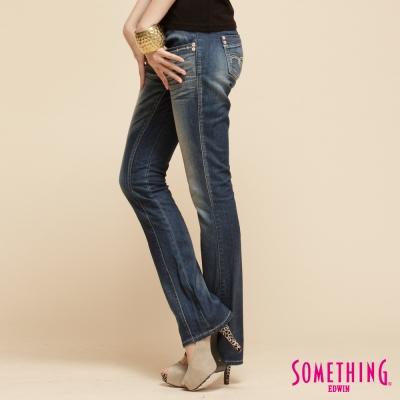 SOMETHING低調名媛 顯瘦剪接靴型牛仔褲-女款-拔洗藍