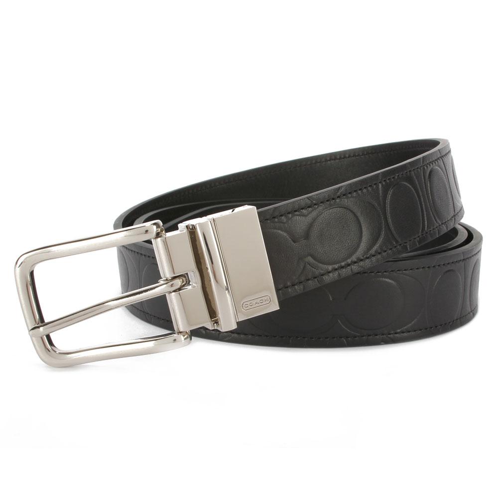 COACH 經典C LOGO壓紋皮革穿式皮帶-黑色