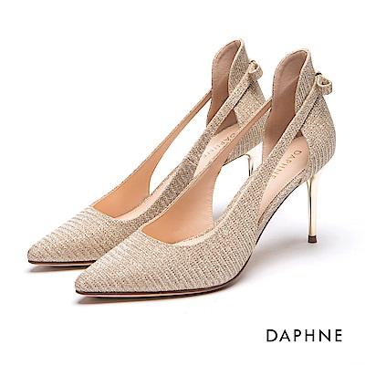 達芙妮DAPHNE 高跟鞋-金蔥效果縷空蝴蝶結細高跟鞋-金