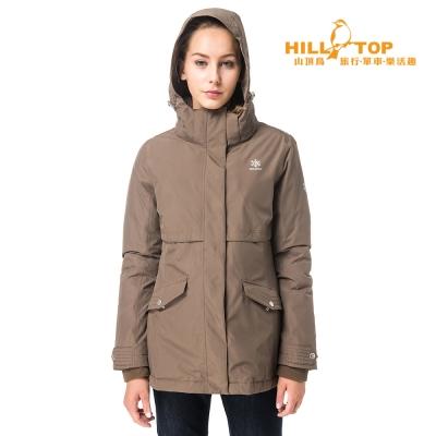 【hilltop山頂鳥】女款WS防風防小雨蓄熱羽絨外套F22FV8卡其