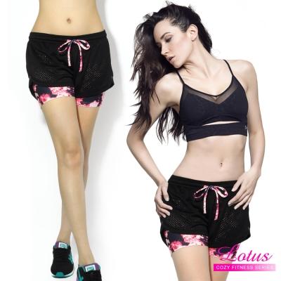 運動褲-纖腿防走光彈力排汗透氣網布雙層運動短褲