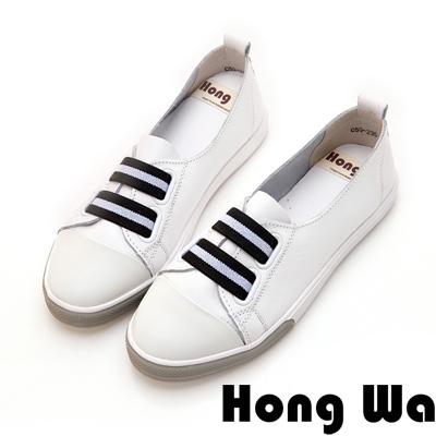 Hong Wa 休閒運動風牛皮綁帶便鞋 - 白