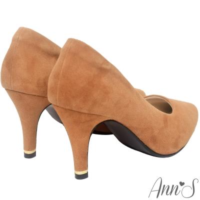 Ann'S危險迷人3D氣墊細緻羊麂皮尖頭高跟鞋-棕