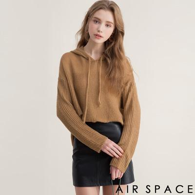 AIR SPACE 拼接感連帽毛線針織上衣(卡其)