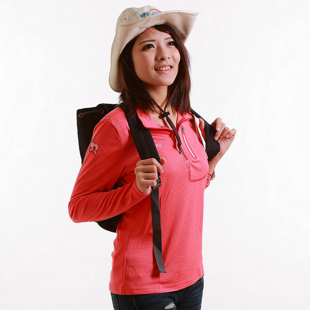 CARAVA 女款排汗長T 恤(櫻紅)