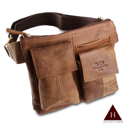 【H-CT】雙口袋中型真皮腰包(B217-Z)
