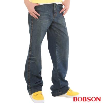 【BOBSON】男款貓鬚大直筒牛仔褲(藍53)