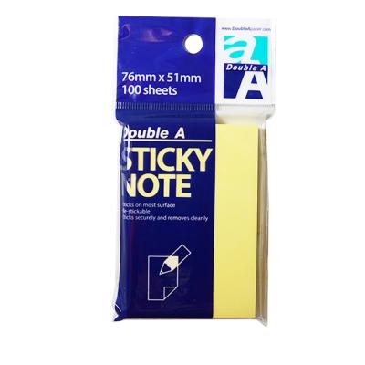Double A 可再貼便條紙DASN14003-黃色(76*51mm) 12入/組