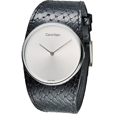 CK 唯我獨秀潮流皮帶錶-黑(K5V231C6)/37mm