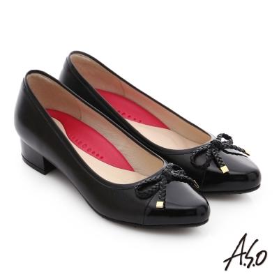 A.S.O 職場女力 真皮鏡面甜美蝴蝶繩結高跟鞋 黑色