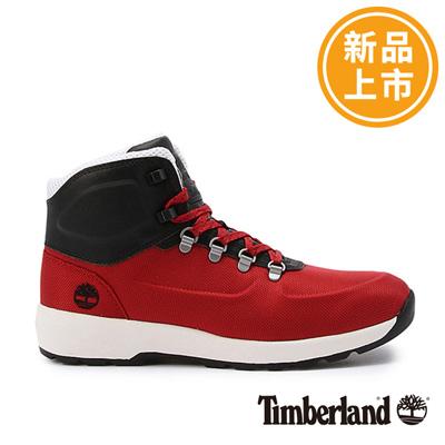 Timberland-男款紅色拼接壓花皮革中筒鞋