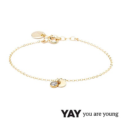 YAY You Are Young 法國品牌 Sultane 透明水晶手鍊 金色
