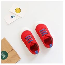 玩弄色彩搭配款四季兒童帆布鞋-紅