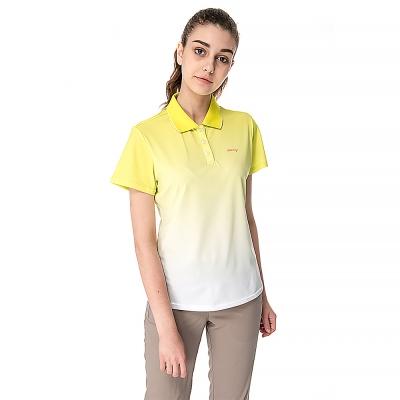 【hilltop山頂鳥】女款速乾抗UV吸濕排汗彈性POLO衫S14FC9-黃印花