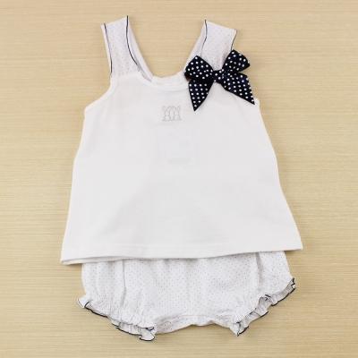 愛的世界 pappa&ciccia 小兔露背肩帶套裝/1~3歲