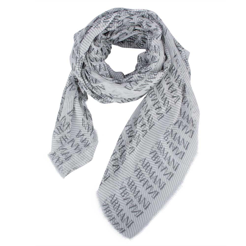 ARMANI COLLEZIONI 經典滿版LOGO斜紋薄圍巾-灰