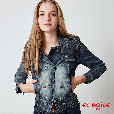 ETBOITE 箱子 BLUE WAY 率性騎士風短版牛仔外套