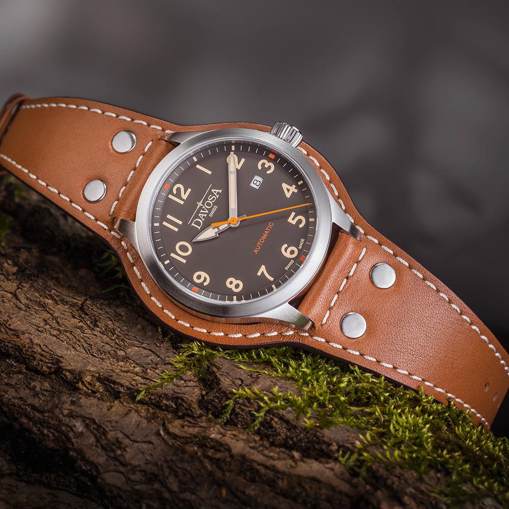 DAVOSA Axis AUtomatic 手工縫製專業護腕全皮帶-復古消光面x咖啡色帶