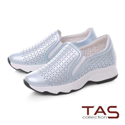 TAS小圓鉚釘牛皮打洞休閒鞋-清新藍